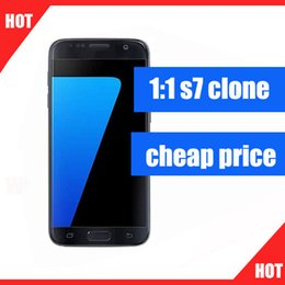Wholesale Cheapest Android 4g - Cheap 1:1 goophone s7 clone Fake 4G LTE Quad Core 5.1inch IPS 12800*720 1G RAM 4G ROM add 32GB card 8MP Camera unlocked smartphone