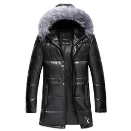 Wholesale Men Detachable Real Fur Collars - Winter leather Down jackets Men Faux Fur Coats male motorcycle Thicken Real Fox fur collar Outwear88-111