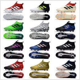 Wholesale Men Black High Top Shoes - 2017 adidas ACE 17+ PureControl FG cheap indoor soccer shoes football boots high top mens soccer cleats Free shipping