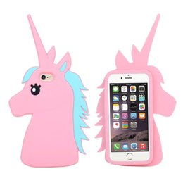Wholesale Unicorns Case - Phone case Unicorn 3D Cartoon Soft Silicone Rubber Horse back Case Cover 2017 For iPhone SE 5 5S 6 6S 7 7S Plus