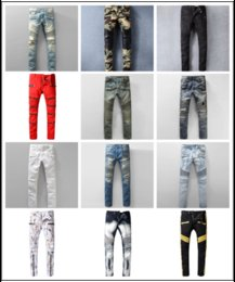 Wholesale Motorcycle Classic - Designer Hole Men Biker Jeans Classic Straight Jeans Wash Cowboy Slim Denim Trousers Skinny Pants Casual Mens Ripped Jean Motorcycle Jeans