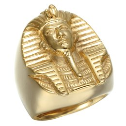 Wholesale Mysterious Rings - Hop Gold Color Mysterious Egyptian Pharaoh Rings Rock Titanium Stainless Steel Mens Signet Bling Ring for Men Jewelry