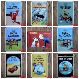 Wholesale Folk Dog - The Adventures Of Tintin Iron Paintings Vintage 20*30cm Tin Poster Coke En Stock Metal Tin Sign Drink Orange Juice With Dog 4rjh