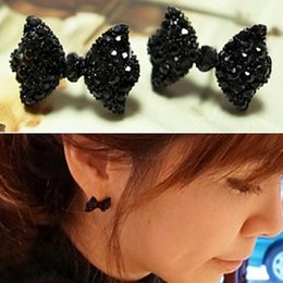 Wholesale Cheap Girl Bow Ties - Fashion Retro Lovely Black Bowknot Bow Tie Stud Cute Girls Earring Women Cheap Stud Earring Jewelry Wholesale