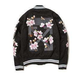 Wholesale Custom Embroidered Belts - Europe and the United States tide embroidered peach embroidered jacket off white men high quality custom pure cotton baseball clothes girls