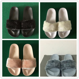 Wholesale Hotel Cool - (With Box+Dust Bag) Rihanna Creepers Women Summer Slippers Fenty Outdoor Sandals Fashion Cool Women Girl Slippers fur pink white black grey