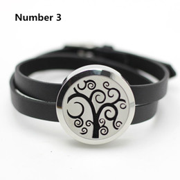 Wholesale Free Flower Designs - (Free 5pcs Felt Pads per piece) 316L stainless steel silver 25mm aromatherapy locket bracelet with leather design bracelet