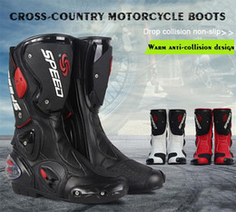 Wholesale Boots Dhl - 2017 NEW Motorcycle Boots Waterproof Pro-biker Speed Bikers Motor motorcyle Racing Motocross Leather Shoes Motocross Racing Boots & Free DHL