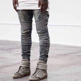 Wholesale Rock Jeans - Wholesale-Kanye West styles biker Jeans rock Mens Hip Hop swag Jeans Washed Skinny motorcycle Denim pants Men Elastic Retro Joggers
