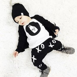 Wholesale Kids Boy Cute Cool - Baby Boys Clothes Autumn Winter Piece Sets Tshirt Pants Long Sleeve Cotton Cool Children Kids Clothing