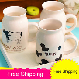Wholesale Children Breakfast - Wholesale- 250ML 450ML New Cute Ceramics Milk Cup The Creative Breakfast Cup Fashion Children Cup Coffee Mug Free Shipping 4 Styles