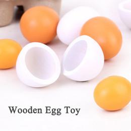 Wholesale Group Children - Wholesale- New 6pcs set Simulation Egg Group Cooking Kitchen Wooden Baby Toys Children Play Wooden Kitchen Toy Classical Pretend Play Toys