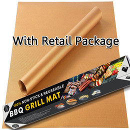 Wholesale Outdoor Grill Kitchens - Perfect Gold Grill Mat Non-Stick Kitchen Accessories Outdoor Barbecue Copper Gold Chef Silicone Grill Mat Reusable