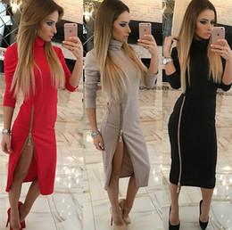 Платье из осеннего чая онлайн-Высокая шея с длинным рукавом женские повседневные платья размер молния чай длина осенние платья Vestidos Mujer красный/черный /хаки
