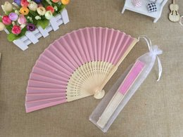 Wholesale Yellow Wedding Party Favors - Free shipping Wholesale 50pcs lot White Elegant Folding Silk Hand Fan with Organza Gift bag Wedding & Party Favors Gift