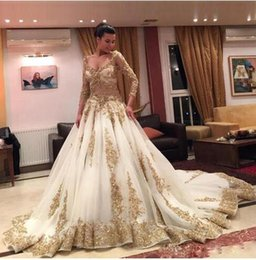 Wholesale Sequin Cathedral Prom - Arabic Plus Size Backless Prom Dresses 2016 Luxury Gold Lace Beaded Long Sleeve V Neck Cathedral Train Formal Bridal Gowns