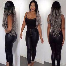 Moda Ombre gris Big Wave peluca sintética del frente del cordón Glueless largo Natural negro / gris Ombre pelucas a prueba de calor del cabello para mujeres negras desde fabricantes