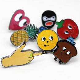 Wholesale Button Pin Badge Brooch - Wholesale- 2016 Shirt Collar Badge brooch set Pin Lovely fruit cute cartoon Fruit Lapel Pin small cravat mini button Costumes Badge