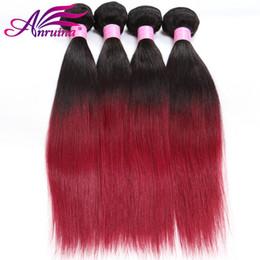 Wholesale Cheap Colored Hair Dye - Brazilian Ombre Human Hair Bundle Two Tone Colored 1B Bg Ombre Straight Hair Human Hair Extensions Cheap Ombre Straight 3 Bundles