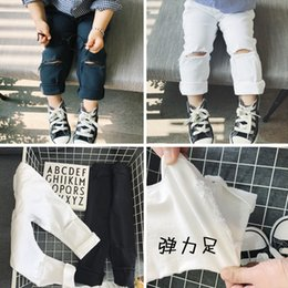 Wholesale 4t Girls Skinny Jeans - girls leggings denim boys kids legging baby ripped jeans hot sell toddler hole ripped skinny pants stretch fabric