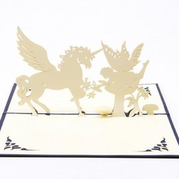 Wholesale Handmade Souvenirs - (10 pieces lot)3D Handmade Pop Up Greeting Cards Cutout Sculpture Animal Horse & Angel Birthday Gift Cards Souvenir Crafts