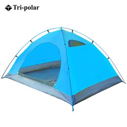 Wholesale One Polar - Wholesale- Tri-polar 2 People Oudoor Ultralight Camping Tent Beach Tent Ultralight Folding Tent For Fishing Hunting CampingTent waterproof