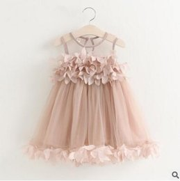 Wholesale Infant Flower Costumes - Princess Girls Dress Flower Chiffon Kids Dresses For Girl Petals Infant Dress Vest Floral Baby Children Party Wedding Costume
