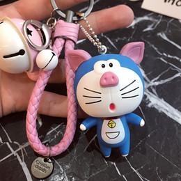 Wholesale Doraemon Car Accessories - Doraemon Korean lovely creative key link key men women car key ring handbags accessories