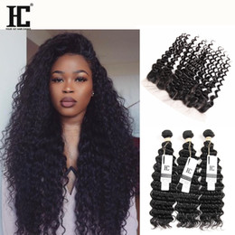 Wholesale Deep Wave Free Closure - Ear To Ear 13x4 Lace Frontal Closures With 3 Bundles Brazilian Peruvian Indian Malaysian Deep Wave Curly Virgin Human Hair Weaves 8A Grade