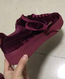 Wholesale Creepers Sneakers - 2017 New Color Velvet Rihanna Suede Creepers 36-44size Grey Red Black Women Men Fashion cheap Casual Shoes sneakers