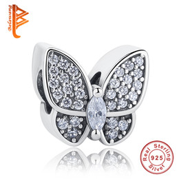 Wholesale Letter Necklace Beads - BELAWANG fit Pandora Charm Bracelets&Necklace Fashion DIY Jewelry Making European CZ Beads 925 Sterling Silver Butterfly Shape Charms Beads