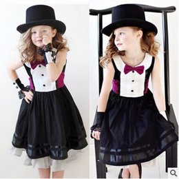 ribbon suits Promo Codes - New Arrival Bow Tie Dress For Girls Kids Costumes Clothing Dress Children Jazz Dance Dress Performance Wear Cosplay Waitress Suits