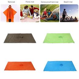 Wholesale Children Rainwear - 3 In 1 Raincoats Outdoor Camping Mat Hiking Fishing Waterproof Large Multifunction Sun Shelter Raincoats LJJO3322