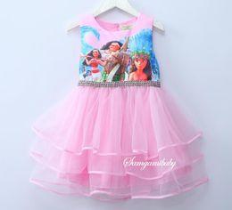 Wholesale Marine Dresses - INS 2017 hot selling Europe and America style new arrival girl summer cute Beauty Marine romance Moana Birthday Tutu Dress
