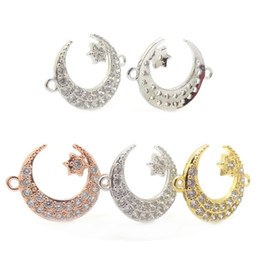 Wholesale Vampire Bracelet Charms - Micro Pave CZ Moon Connector with Star Bracelet Connector,Crescent Moon and Star Connector Charm,Twilight Charm,vampire diaries charm