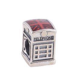 Wholesale Wholesale Jewelry Boxes Flowers - Authentic 925 Sterling Silver Beads Red Telephone Box Charm Fits European Pandora Style Jewelry Bracelets & Necklace 791202EN49