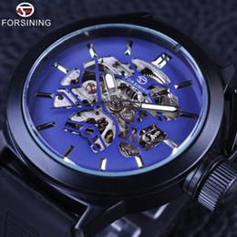 Forsining Blue Skeleton Dial Faixa de Borracha Mens Esporte Design Coroa de Segurança Mens Watch Top Marca de Luxo Relógio de Pulso Mecânico Preto de
