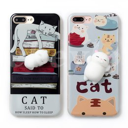 Wholesale Iphone Case Toys - 3D Cat Squishy Phone Bag Case for IPhone 7 7Plus Capa Soft Squeeze Toys Back Cover for Iphone 6s 6plus Stress Relieve Shell