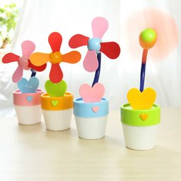 Wholesale Small Pot For Flowers - Wholesale-Small Fans for Desk Office Summer Creative Flower Pot Night Light Lamp Charging USB Mini Portable Battery Table Fan