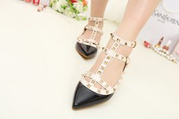 Wholesale Pointed Shoes Flat Bottoms - Casual Women Sandals Pointed Toe Rivet Flat Bottom Shoes Women Slip On Genuine Leather Flats Candy Color Size 35-40