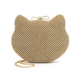 Wholesale Evening Bags Lace - Wholesale- Cute Cat Shaped Evening Bag For Women Handbag Clutch Purse With Chain Gold Clutches Crystal Bags Diamond Small Single Shoulder