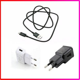 Wholesale Data Wall Box - Genuine Quality 5V 2.1A Fast Charger USB Power EU US Plug Travel Wall Charger Micro USB Data Cable For Samsung S6 S7 Edge with Retail Box