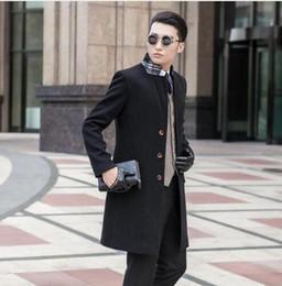 Wholesale Mens Black Trench Coat Long - Black grey khaki blue casual Single-breasted wool coat men 2017 trench jackets coats mens wool coat overcoats dress winter S 9XL
