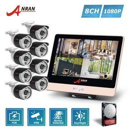 Wholesale Home Cctv System Monitor - ANRAN P2P Plug Play 1080P HD 8CH POE NVR 12 Inch LCD Monitor 36 IR Outdoor Waterproof Security IP Cameras Home CCTV System HDD