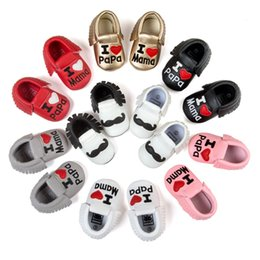Wholesale Mustache Baby - Wholesale- ROMIRUS PU Leather Newborn Baby Infant Toddler I Love Mama Papa Moccasins Soft Moccs Shoes Funny Mustache Fringe Footwear Boots