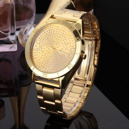 Wholesale M Watches - Fashion design Brand women's Men's unisex crystal style dial Steel metal band quartz M wrist watch