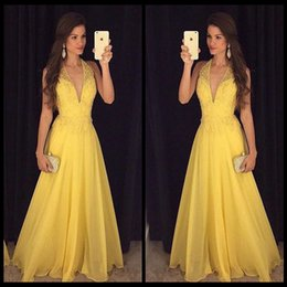Wholesale Feature Art - Yellow Beaded Chiffon Prom Dresses Featuring Plunge V Halter Neckline New Arrival Formal Evening Party Gowns