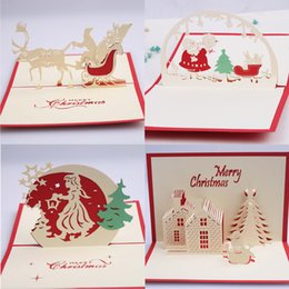 Wholesale Christmas Cards Santa - 10pc Handmade Creative Kirigami & Origami 3D Pop UP Greeting Cards Christmas Gift Christmas Tree Santa Wholesale