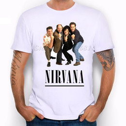 Wholesale Vintage Band Tees - Wholesale- 2016 New SEINFELD NIRVANA printed men's casual t-shirt male SUMMER hipster vintage rock band tops tee