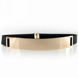 Wholesale elastic mirror metal belt - Wholesale- New Fashion Beige Women's Waist Band Elastic Mirror Metal Waist Belt Leather Metallic Bling Gold Plate Wide Obi Band Accessory